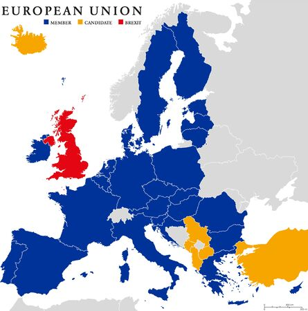 mapa de europa: Unión Europea Brexit. Mapa del esquema político con los estados miembros de la Unión Europea, los candidatos y retirada británica de la Unión Europea, acortado a Brexit. Inglés etiquetado y descamación.