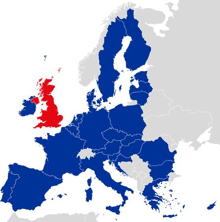 labeling: Brexit European Union map. Outline political map with European Union member states and British withdrawal from the European Union, shortened to Brexit. English labeling and scaling.