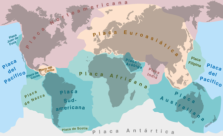 seismology: Tectonic Plates - SPANISH TEXT! - world map with major an minor plates - vector illustration.