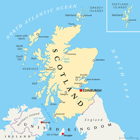 Independent Scotland political map with capital Edinburgh, national borders and important cities. Fictive map of Scotland as independent sovereign state after leaving United Kingdom. English labeling.