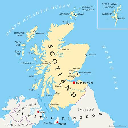 La mappa politica Scozia indipendente con capitale Edimburgo, i confini nazionali e le città più importanti. Mappa fittizia della Scozia come Stato sovrano indipendente dopo aver lasciato Regno Unito. etichettatura inglese. Archivio Fotografico - 59194256