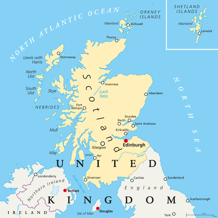 shetland: Scotland political map with capital Edinburgh, national borders and cities. Scotland is part of the United Kingdom and covers the northern third of the island of Great Britain. English labeling.