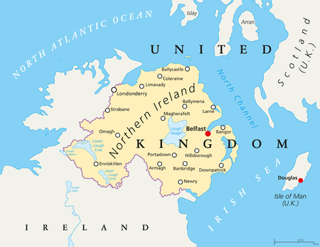 isle: Northern Ireland political map with capital Belfast, national border and cities. Northern Ireland is part of the United Kingdom in the northeast of the island of Ireland. English labeling and scaling