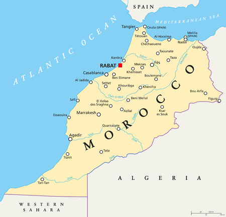 Morocco political map with capital Rabat, national borders, important cities and rivers. Illustration with English labeling and scaling.