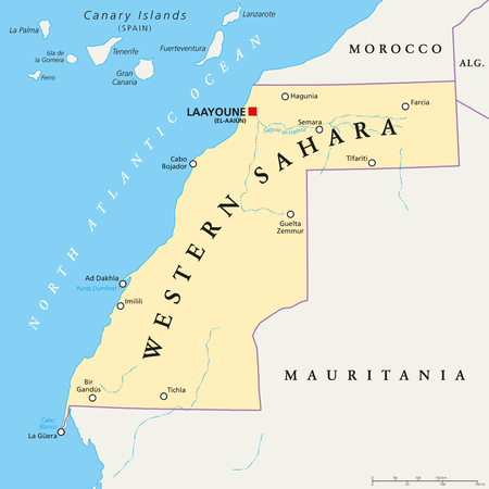 disputed: Western Sahara political map with capital Laayoune, national borders, important places and rivers. A disputed territory in the Maghreb region of North Africa. Illustration with English labeling.