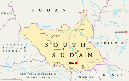 labeling: South Sudan political map with capital Juba, national borders, important cities, rivers and lakes. Illustration with English labeling and scaling. Illustration