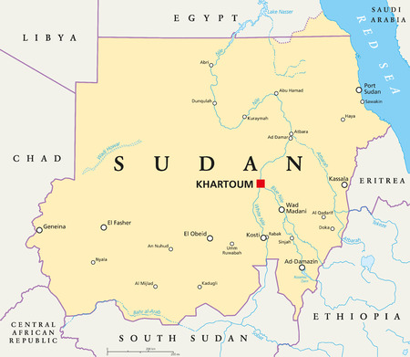 Sudan political map with capital Khartoum, national borders, important cities, rivers and lakes. Illustration with English labeling and scaling.