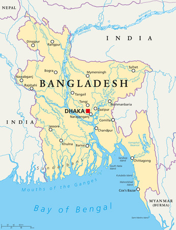 padma: Bangladesh political map with capital Dhaka, national borders, important cities, rivers and lakes. English labeling. Illustration. Illustration