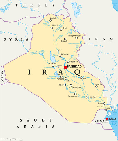 Iraq political map with capital Baghdad, national borders, important cities, rivers and lakes. Also called Mesopotamia, the land between Tigris and Euphrates. English labeling. Illustration.