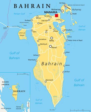 labeling: Bahrain political map with capital Manama. Island country, archipelago and kingdom near western shores of Persian Gulf in the Middle East. English labeling. Illustration.