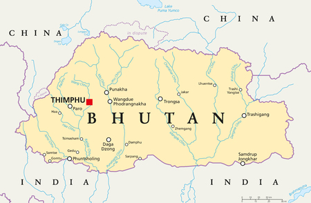 south asia: Bhutan political map with capital Thimphu, national borders, important cities, rivers and lakes. Landlocked kingdom in South Asia, Eastern Himalayas. English labeling. Illustration.