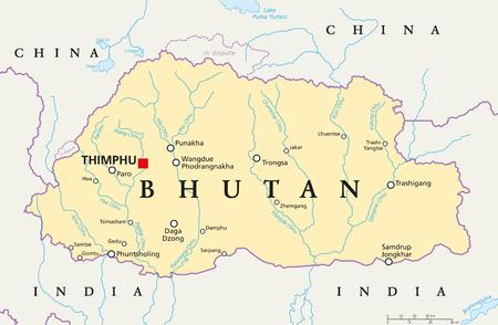mapa político Bután con un capital de Thimphu, las fronteras nacionales, ciudades importantes, ríos y lagos. reino sin salida al mar en el sur de Asia, el Himalaya oriental. Inglés etiquetado. Ilustración. Ilustración de vector