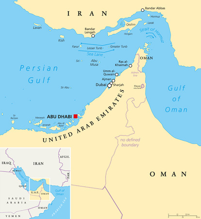 Strait of Hormuz, Abu Musa and the Tunbs political map. Only sea passage from the Persian Gulf to the Arabian Sea. One of the most strategically important choke points in world. English labeling. illustration
