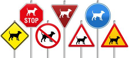 obligatory: Seven traffic signs concerning dogs, like warning- stop- yield- or prohibition-signs.