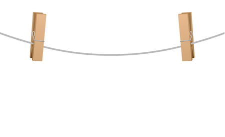 clothes pins: Two wooden clothespins clipped on a clothesline rope.