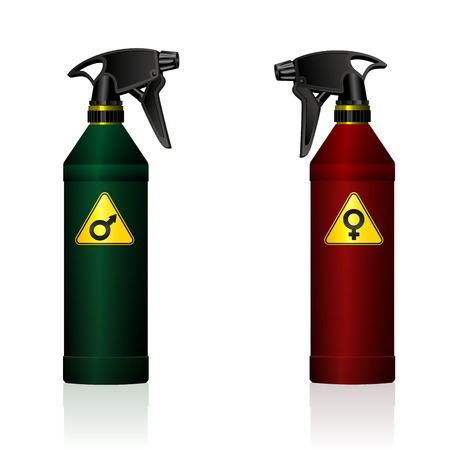 Gender fight - symbolized by a male and a female spray bottle.