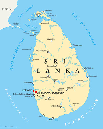 Sri Lanka political map with capitals Sri Jayawardenepura Kotte and Colombo, important cities, rivers and lakes. Former known as Ceylon, island country in South Asia. English labeling. Illustration.