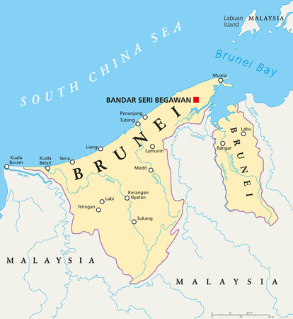 Brunei political map with capital Bandar Seri Begawan, national borders, cities and rivers. Sovereign state on the north coast of Borneo, Malaysia in Southeast Asia. English labeling. Illustration. Illustration