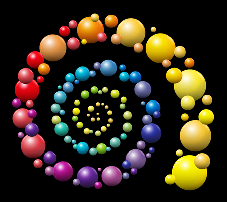 hypnotize: Spiral - rainbow gradient colored pattern out of three-dimensional balls on black background.