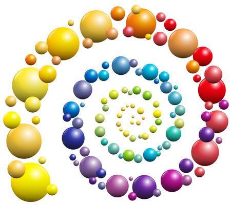 Rainbow gradient colored spiral pattern out of balls.
