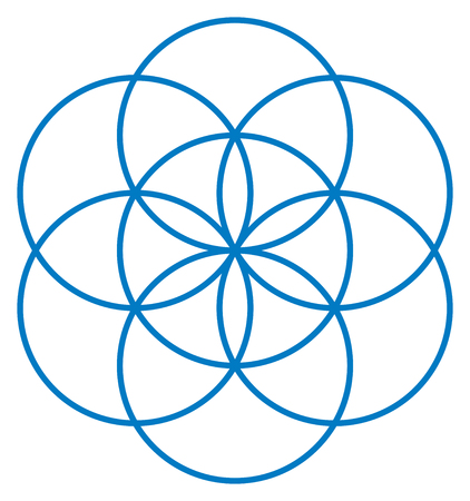 Blue Seed of Life. Unique geometrical figure, composed of seven overlapping circles of same size, forming the symmetrical structure of an hexagon. Flower of Life prestage. illustration Vectores