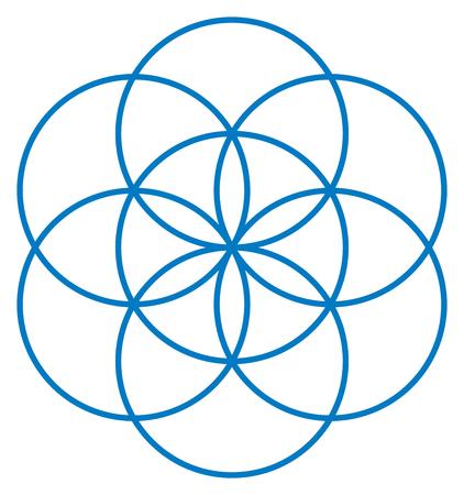 Blau Samen des Lebens. Einzigartige geometrische Figur, bestehend aus sieben überlappende Kreise von gleicher Größe, die symmetrische Struktur eines Sechseck bilden. Blume des Lebens Prestage. Illustration Vektorgrafik