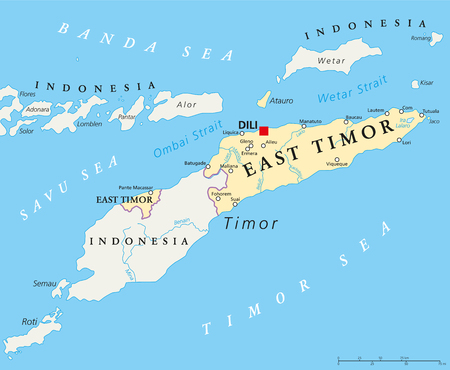 sovereign: East Timor political map with capital Dili, national borders, important cities and rivers. Also known as Timor Leste, a sovereign state in Southeast Asia bordered to Indonesia. English labeling.