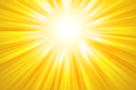 radiant light: Golden sun rays background. Bright yellow beams of light coming from the upper center of the image. Illustration.