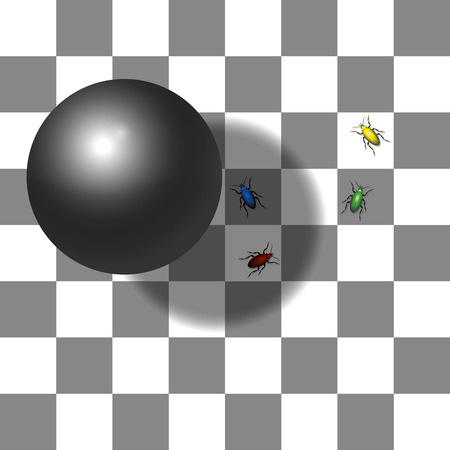 Optical shadow illusion - the two squares with the red and the green beetle are the same shade of gray - believe it. Illustration