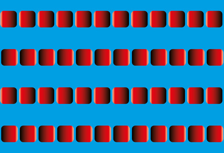 oscillate: Illusory motion, optical illusion - the rows of red squares seem to sway leftward and rightward, and to run counter - seamless pattern with option to write your text between the moving lines.