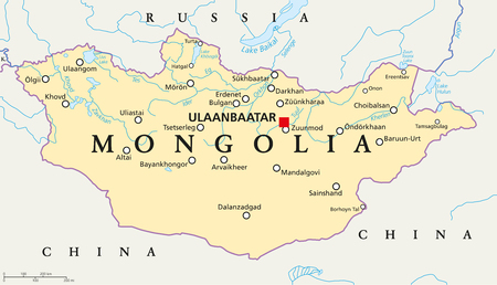 labeling: Mongolia political map with capital Ulaanbaatar, national borders, important cities, rivers and lakes. Landlocked sovereign state in East Asia, bordered to China and Russia. English labeling.