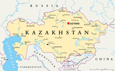 landlocked country: Kazakhstan political map with capital Astana, national borders, important cities, rivers and lakes. Republic in Central Asia and the worlds largest landlocked country. English labeling. Illustration.