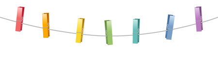 clothespeg: Colored clothes pins on a clothes line rope. Illustration