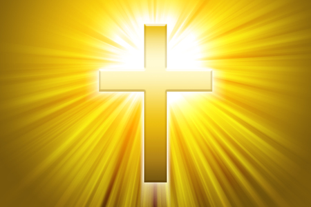 crux: Golden latin cross with sunbeams. Christian cross, the symbol of Christianity, so called Roman cross in front of beams of light.