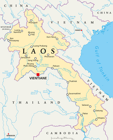 landlocked country: Laos political map with capital Vientiane, national borders, important cities, rivers and lakes. Also known as Muang Lao, a landlocked country in Southeast Asia. English labeling. Illustration.