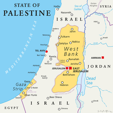 occupied: State of Palestine with designated capital East Jerusalem, claiming West Bank and Gaza Strip. Political map with borders and important places. Most areas are occupied by Israel. English labeling.
