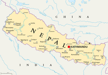 south asia: Nepal political map with capital Kathmandu, national borders, cities and rivers. Federal democratic republic and landlocked country in South Asia, bordered to China and India. English labeling.