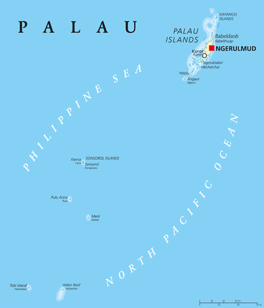 labeling: Palau political map with capital Ngerulmud. Republic and Iceland country in North Pacific Ocean forming the western chain of Caroline Islands in Micronesia. English labeling. Illustration. Illustration