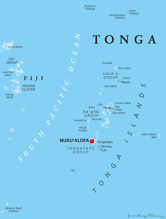 political: Tonga political map with capital Nukualofa. Kingdom, sovereign state and archipelago in Polynesia with the main island Tongatapu. Known as the Friendly Island. English labeling. Illustration.