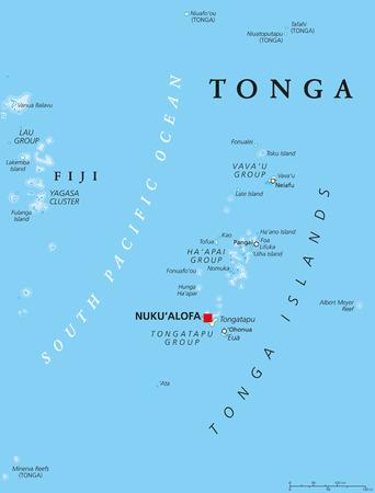 Tonga political map with capital Nukualofa. Kingdom, sovereign state and archipelago in Polynesia with the main island Tongatapu. Known as the Friendly Island. English labeling. Illustration.