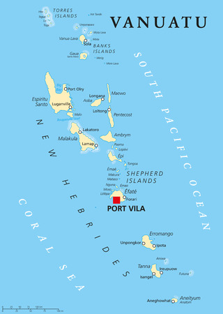 labeling: Vanuatu political map with capital Port Vila. Republic and island nation in South Pacific Ocean. New Hebrides with largest islands Espiritu Santo, Malakula and Efate. English labeling. Illustration.