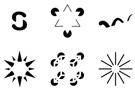 Illusory contours. Subjective contours are visual illusions that evoke the perception of an edge without a luminance or color change across that edge. Six black and white illustrations.