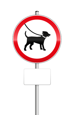labeled: Dogs on leash sign with blank place to be labeled. Illustration