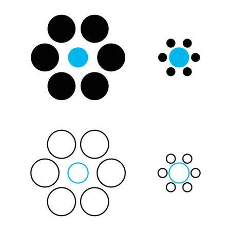 Ebbinghaus illusie of Titchener kringen is een optische illusie van relatieve grootte waarneming. De twee blauwe cirkels zijn precies dezelfde grootte. Echter, de een aan de rechterkant verschijnt groter. Illustratie. Stock Illustratie