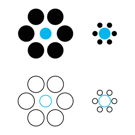 percepción: Ebbinghaus ilusión o círculos Titchener es una ilusión óptica de la percepción tamaño relativo. Los dos círculos azules son exactamente del mismo tamaño. Sin embargo, el uno a la derecha parece más grande. Ilustración. Vectores