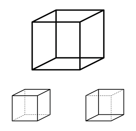 interpretation: Necker cube optical illusion. Ambiguous line drawing. Most people see the left interpretation of the cube because people view objects more often from above, with the top side visible, than from below.