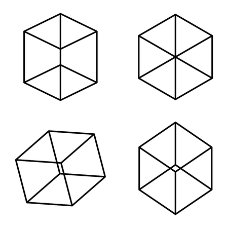 ambiguity: Kopfermann cubes optical illusion. It takes some time to see the cubes in the first row. If the cubes get turned a little bit like in the second line, it is easier to find and see them.