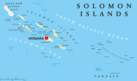 Solomon Islands political map with capital Honiara on Guadalcanal. Sovereign country consisting of six major islands in Oceania between Papua New Guinea and Vanuatu. English labeling. Illustration. Ilustração