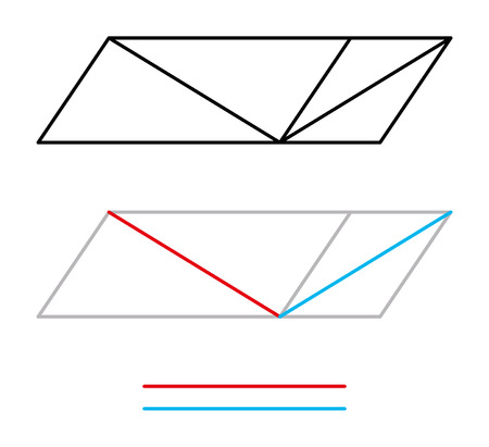 optical: Sander optical illusion or Sanders parallelogram. The diagonal line bisecting the left parallelogram appears to be longer than the line in the right parallelogram, but is the same length. Illustration