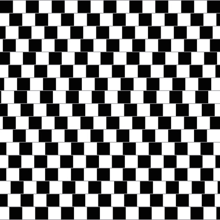 dividing lines: Cafe wall illusion. Geometrical optical illusion in which the parallel straight dividing lines between staggered rows with alternating black and white bricks appear to be sloped. Illustration.